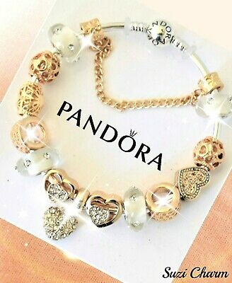 Authentic Pandora Bracelet Silver with ROSE GOLD Micro Pave European Charms New