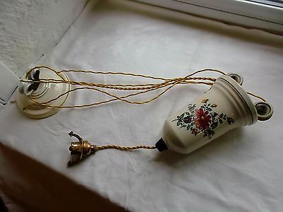French antique counterbalance weight porcelain rise and fall pendant light