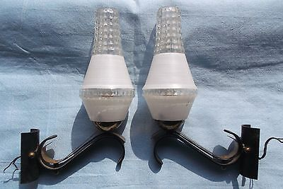 French c.1960 authentic retro mid century a pair of wall light perfect designed