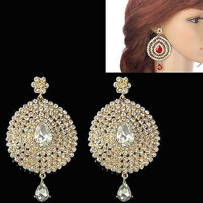 NEW Bollywood Statement Long Chandelier Diamante Indian Wedding/PARTY Earrings