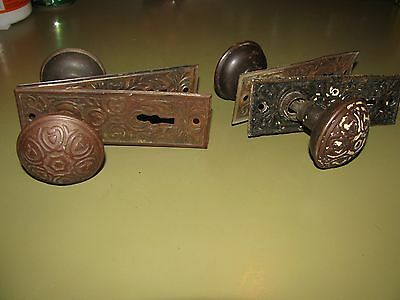 2 VINTAGE SETS DOOR  KNOBS AND BACK PLATES Hearts Deco GREAT Designs