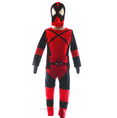 2-7 Deadpool Boys Kids Costume Set Halloween Party Dress Up Outfit Cosplay