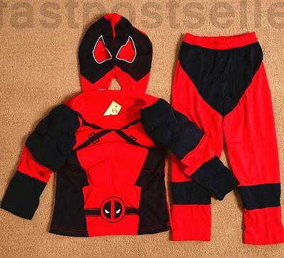 Deadpool Muscle Boys Kids Costume Set Halloween Party Dress Up Outfit Cosplay