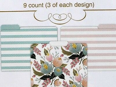C.R. Gibson Set of 9 Decorative Letter File Folders ~  Floral Pastel Stripes