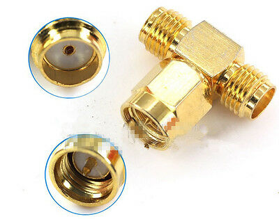 Premium SMA Male Plug to 2 SMA Female Adapter Connector 1 to 2 T Connector