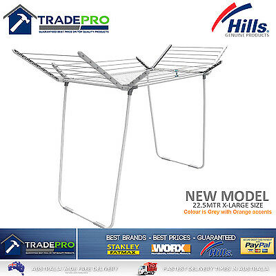 Hills Clothes Line Airer Premium 4 Wing 22.5Mtr Clothesline Portable Drying Rack