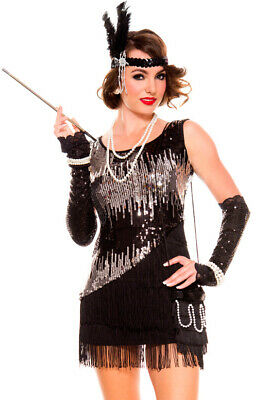 2c16745a8c9 WOMENS BLACK AND silver sequins flapper dress costume -  39.99 ...