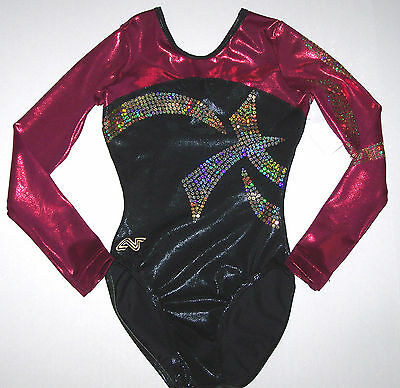 Nwt New Alpha Factor Leotard Hologram Holo Black Burgundy Sequin Cute Women AS S