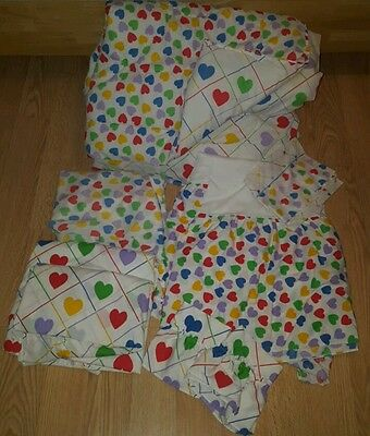 Vintage Sears Heart Bedding Full Comforter  Curtains Fitted Sheet Dust Ruffle