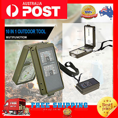 10 in 1 Outdoor Multifunction Military Camping Hiking Survival Tool Compass Kit