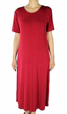 Women's Red Slinky Knit Tunic Short Sleeve Dresses Made In USA S- 2X Plus Size