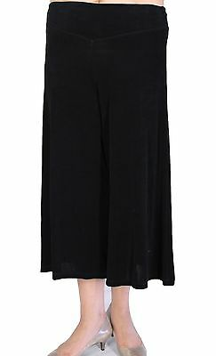 Women's Solid Black Gaucho Pants Slinky Stretch Casual Travel With Plus Size
