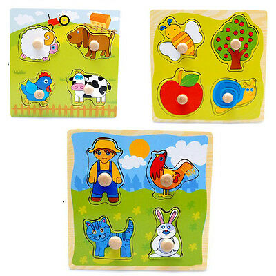 Baby Development Toddler Intelligence Wooden Puzzle Toy Animal Brick Classic