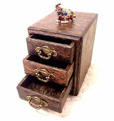 3 storey wooden drawers Tan Thailand ancient finely crafted antique brass handle