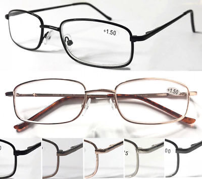 L453 Superb Metal Reading Glasses/Spring Hinges/Smart Classic Style/Square Frame