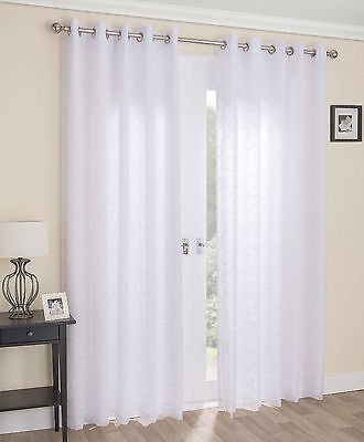 Lined Voile White Eyelet Curtains Venice
