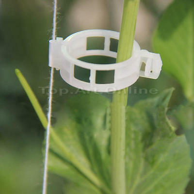 100Pcs Plant Vine Tomato Stem Clips Supports Connect Trellis Twine Cages Flowers