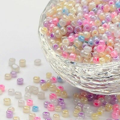 1-lb 8/0 Glass Seed Beads Loose Spacer Bead Round Hole Rocailles Mixed Color 3mm