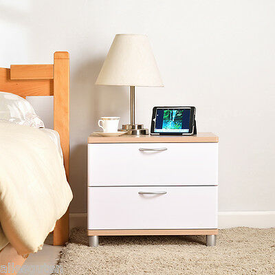 2 Drawer Bedside Storage Cabinet Bedroom Furniture Unit Chest Table White &