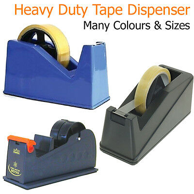 Tape Dispenser Heavy Duty Sellotape Cutter Holder Postal Office Desktop Home UK