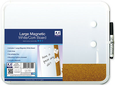 Large Magnetic Whiteboard White/Cork Board With Marker Pen Office School Home