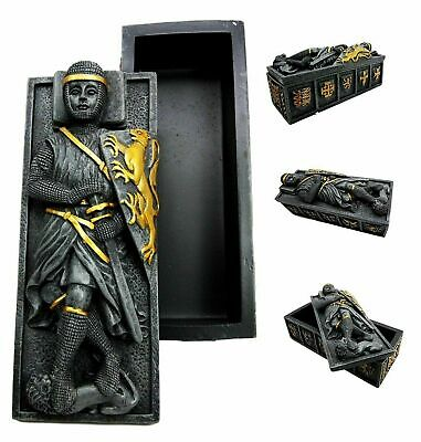 "6.25"" Length Lion Crest Templar Medieval Knight Coffin Casket Jewelry Box Statue"