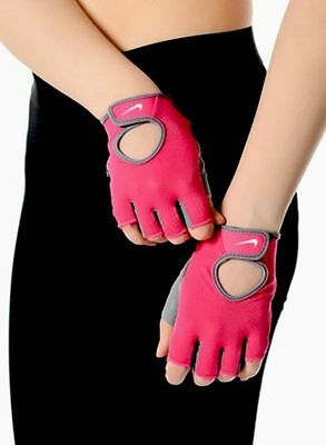 NIKE womens fundamental fitness gloves Pink padded bike gym workout spin weight
