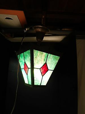 Antique Pendant STAINED GLASS PORCH LIGHT Arts Crafts Mission Tudor