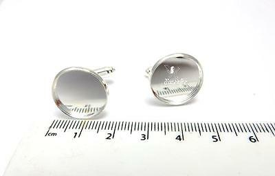 1 pair of cuff link blanks for 16 mm cabochon or resin jewellery making silver