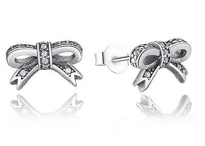 Sparkling bow stud earrings genuine sterling silver 925