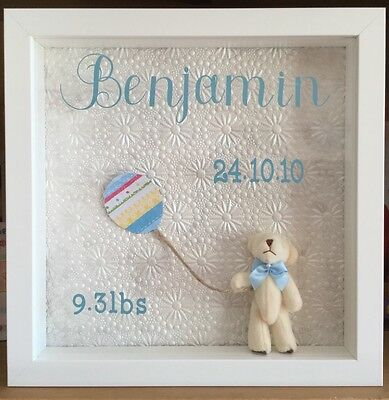 personalized box frame teddy picture new born baby boy or girl gift
