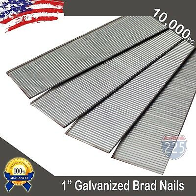 "1"" Inch 18 Gauge AWG Chisel Point Galvanized Finish Brad Nails 10,000 Count US"