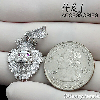 Men 925 Sterling Silver Bling Small Lion King Head Crown Pendant*Sp122