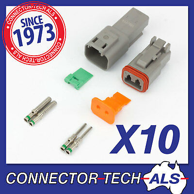 10X Deutsch DT 2-way 2 Pin Electrical Connector Kit Automotive #DT2-TRx10