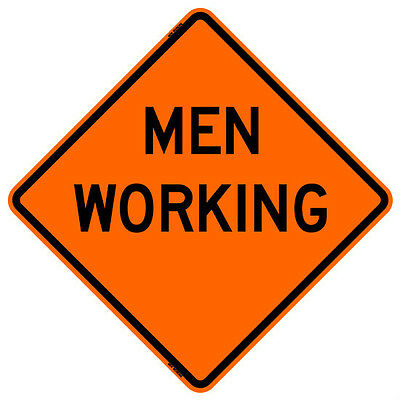 """Bone Safety MEN WORKING (36"""") Roll-Up Sign with Ribs..FLUORESCENT VINYL"""