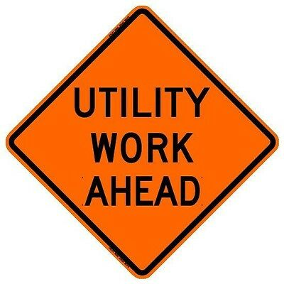 """UTILITY WORK AHEAD (36"""") Roll-Up Sign with Ribs..FLUORESCENT VINYL"""
