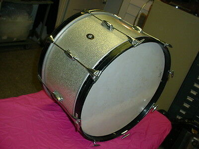 """Slingerland 60's Silver Sparkle Wood 20"""" headsize by12"""" Deep Bass Drum 8 LugNR#7"""