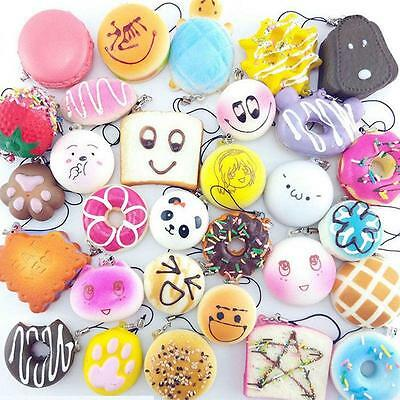 10/20/30pcs Random Squishy Soft Panda/Bread/Cake/Buns Phone Bag Straps Charm HF