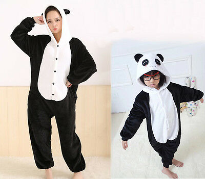 Unisex Adult Kid Pajamas Kigurumi Cosplay Animal Onesie Sleepwear Shoes Pandas
