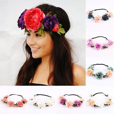Women Boho Flower Hairband Headband Crown Party Bride Wedding Beach Garland