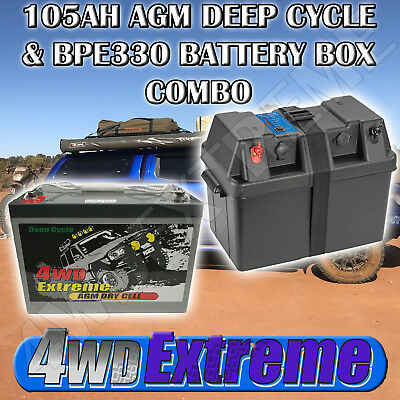 Power King 100Ah Deep Cycle Battery & Box Combo Dual 100Ah Fridge - Bpe330 Pk100