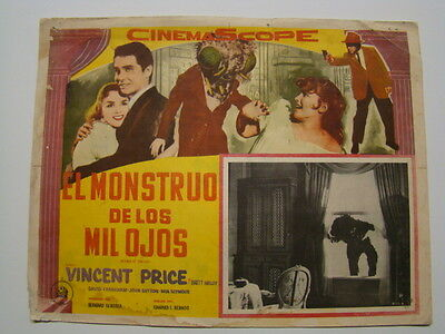 """Spanish Language """"The Fly"""" starring Vincent Price Horror Movie Lobby Card 1958"""