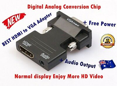 HDMI Female To VGA Male Converter Adapter 1080P Stereo + 3.5mm Audio New Chip