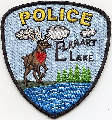 ELKHART LAKE WISCONSIN WI red heart POLICE PATCH