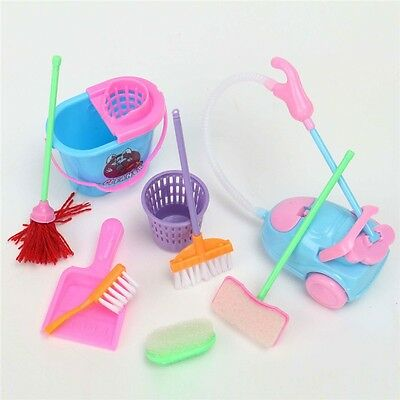 9Pcs/set Girl House Dolls Furniture Cleaning Kit Set Pretend Play CA-242
