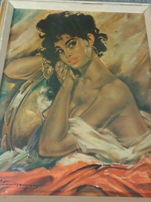 60er Jahre Akt Druck Zigeunerin 60s Gypsy Print Picture With Frame Nude Taarvang