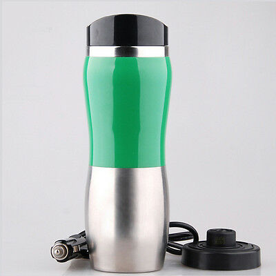 Portable Car 12V Stainless Steel Kettle Cup Warm Hot Water 100° Heater Mug Green