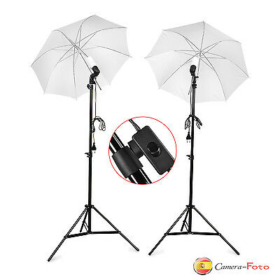 Foto Studio Soft paraguas fotografia video Lampara Bombilla Luz continua Kit x2