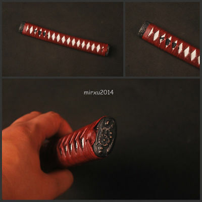 Dark red synthetic leather hard wood tsuka with alloy fittings for katana sword