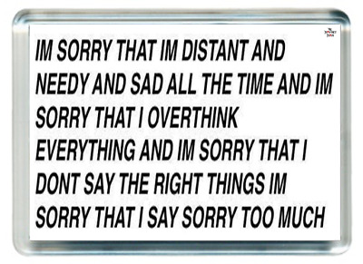 Sorry Apologise Apology Distant Needy Sad Say Quotes Saying Gift Present Novelty